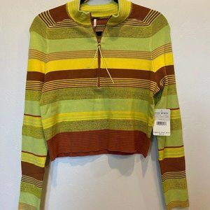 Free People Green Striped Cropped Knit Sweater Lg